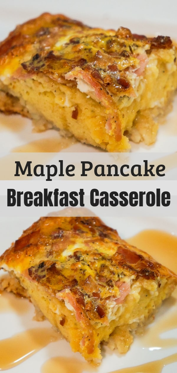 Maple Pancake Breakfast Casserole. Easy breakfast idea using pancake mix, hash browns and eggs.
