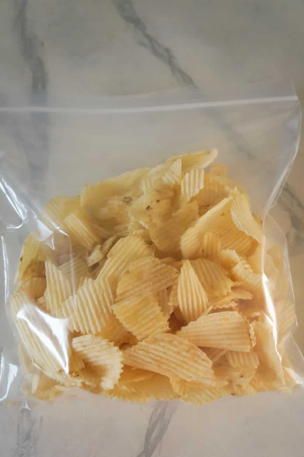 Ruffles potato chips in a Ziploc bag