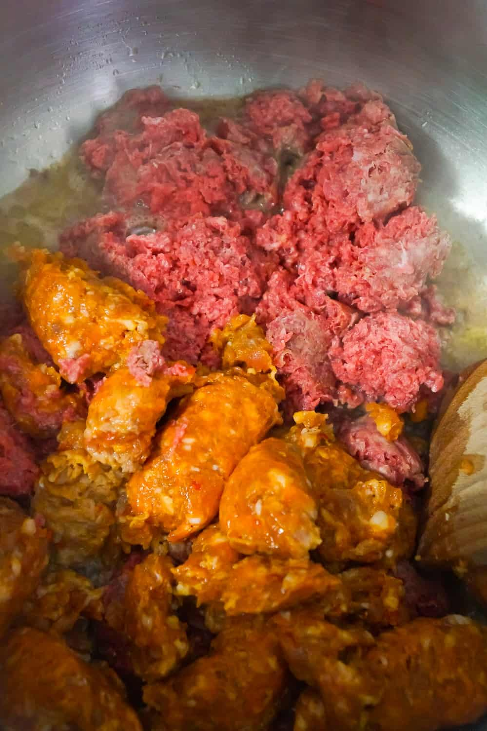 ground beef and hot Italian sausage meat