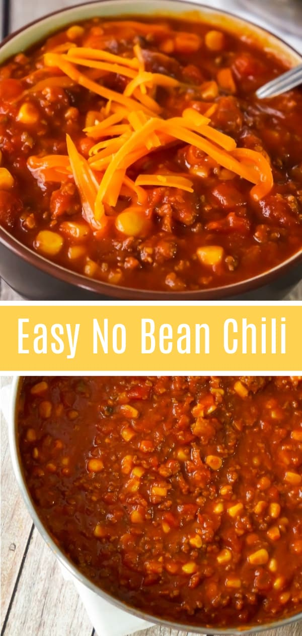 Easy No Bean Chili is a hearty comfort food dish loaded with ground beef and hot Italian sausage meat. This bean free chili, made with chunky salsa and canned corn, packs just the right amount of heat.