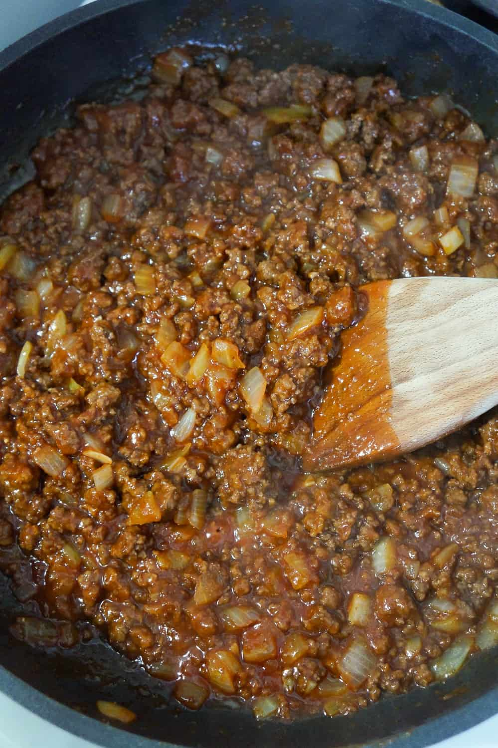 sloppy joe mixture in a frying pan