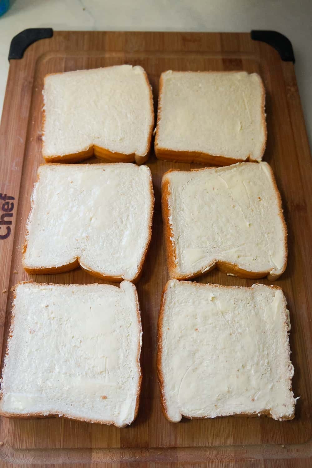 slices of bread on a cutting board