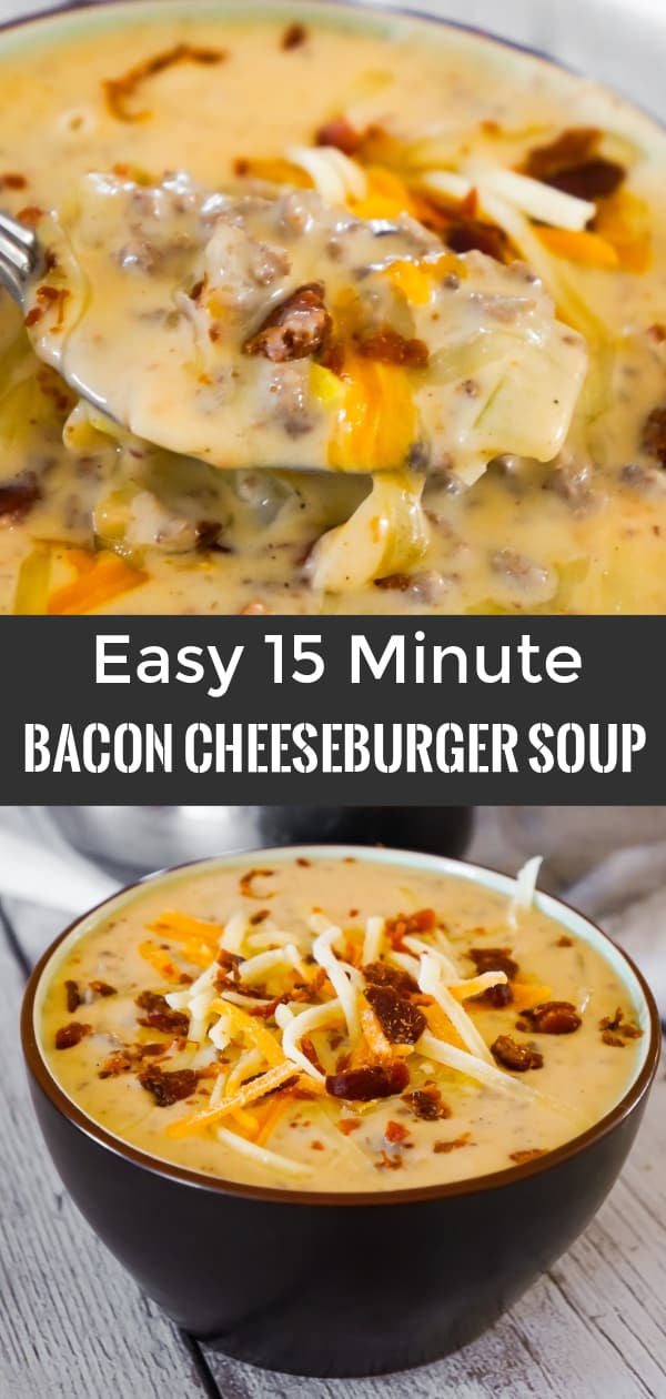 Bacon Cheeseburger Soup is a hearty soup recipe that can be whipped up in just fifteen minutes. This tasty dish made with Campbell's Cream of Bacon soup and Campbell's Cheddar Cheese soup, is loaded with ground beef, real bacon bits and cheddar cheese.