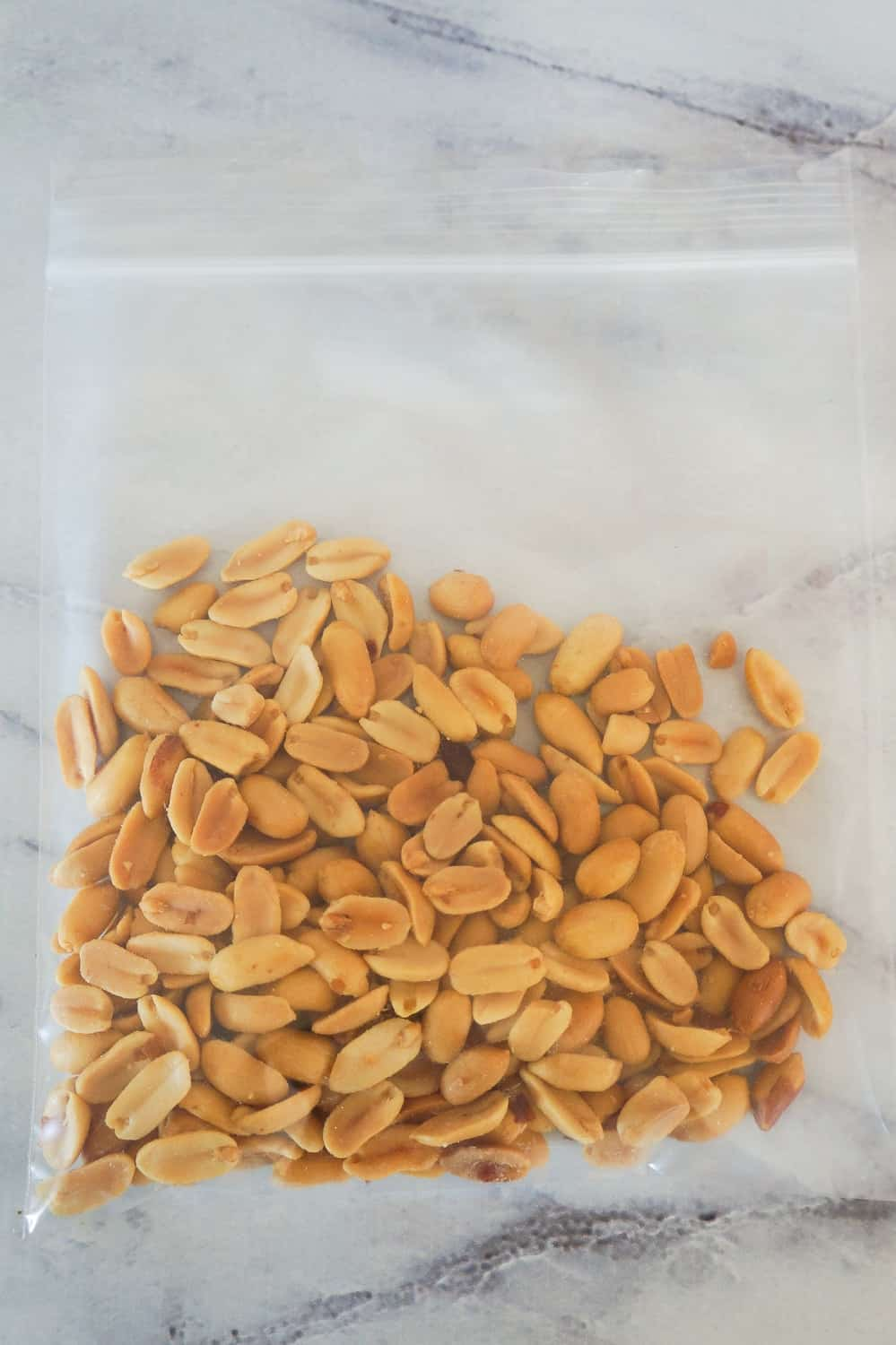 salted peanuts in a Ziploc bag