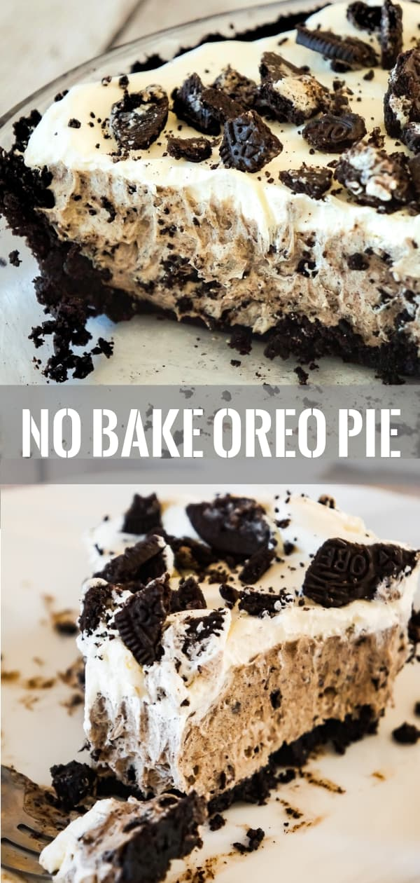 Oreo Pie is an easy no bake dessert recipe using vanilla instant pudding and a store bought Oreo crust. The creamy pudding and Cool Whip filling is loaded with white chocolate and crushed Oreo cookies.
