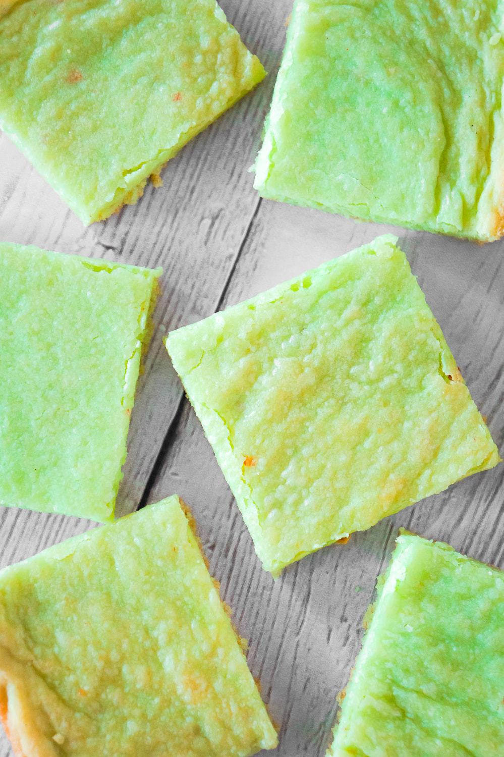 Pistachio Pudding Sugar Cookie Bars are soft, chewy and delicious. This super easy cookie bar recipe uses pistachio instant pudding mix and Betty Crocker sugar cookie mix.