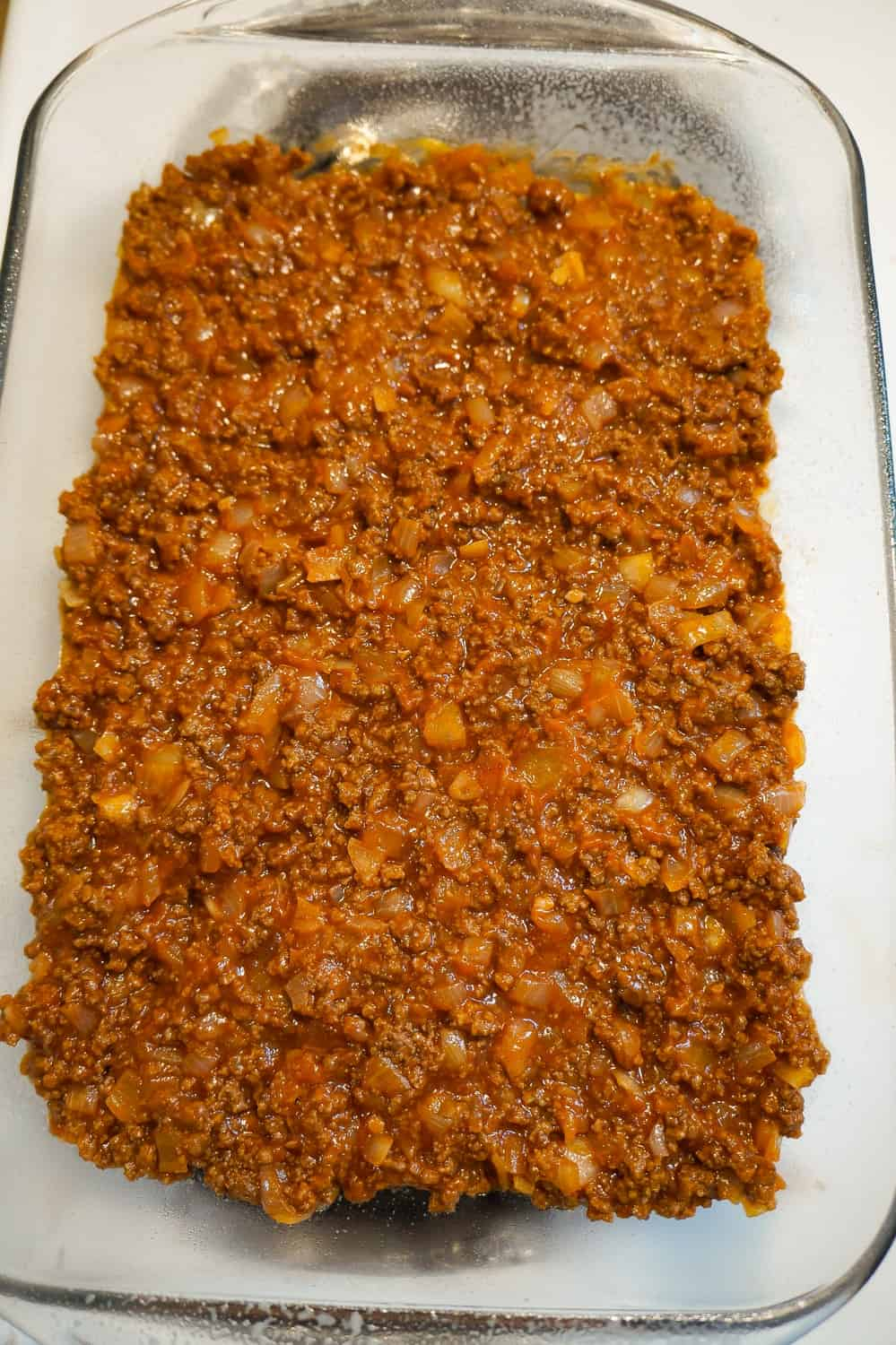 sloppy joe meat mixture in a 9 x 13 inch baking dish