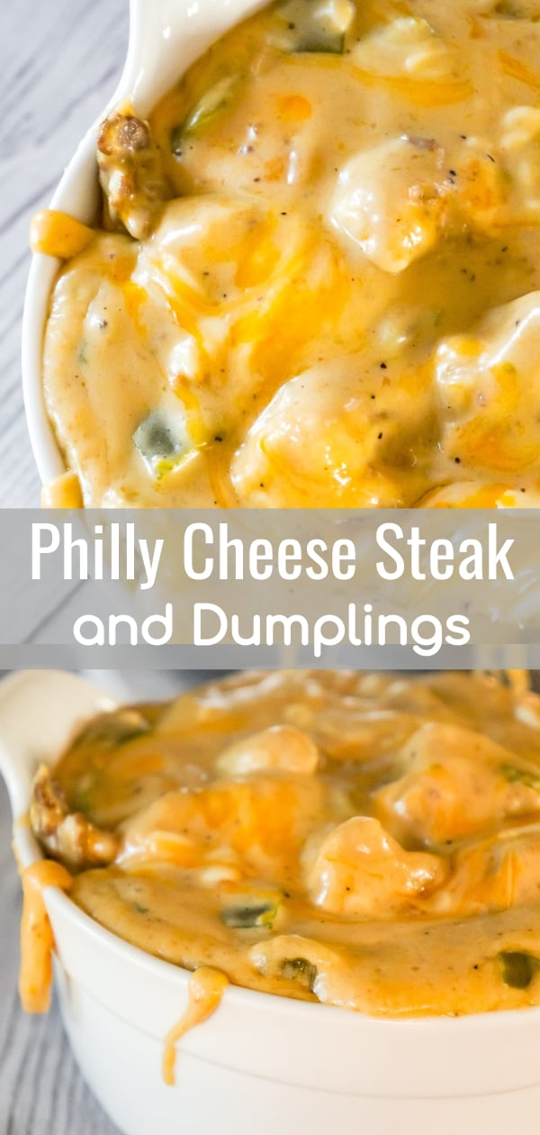 Philly Cheese Steak and Dumplings is an easy dinner recipe that is a fun twist on the classic chicken and dumplings. This thick and creamy dish is loaded with steak strips, green peppers, onions and cheese with Pillsbury biscuit dumplings.