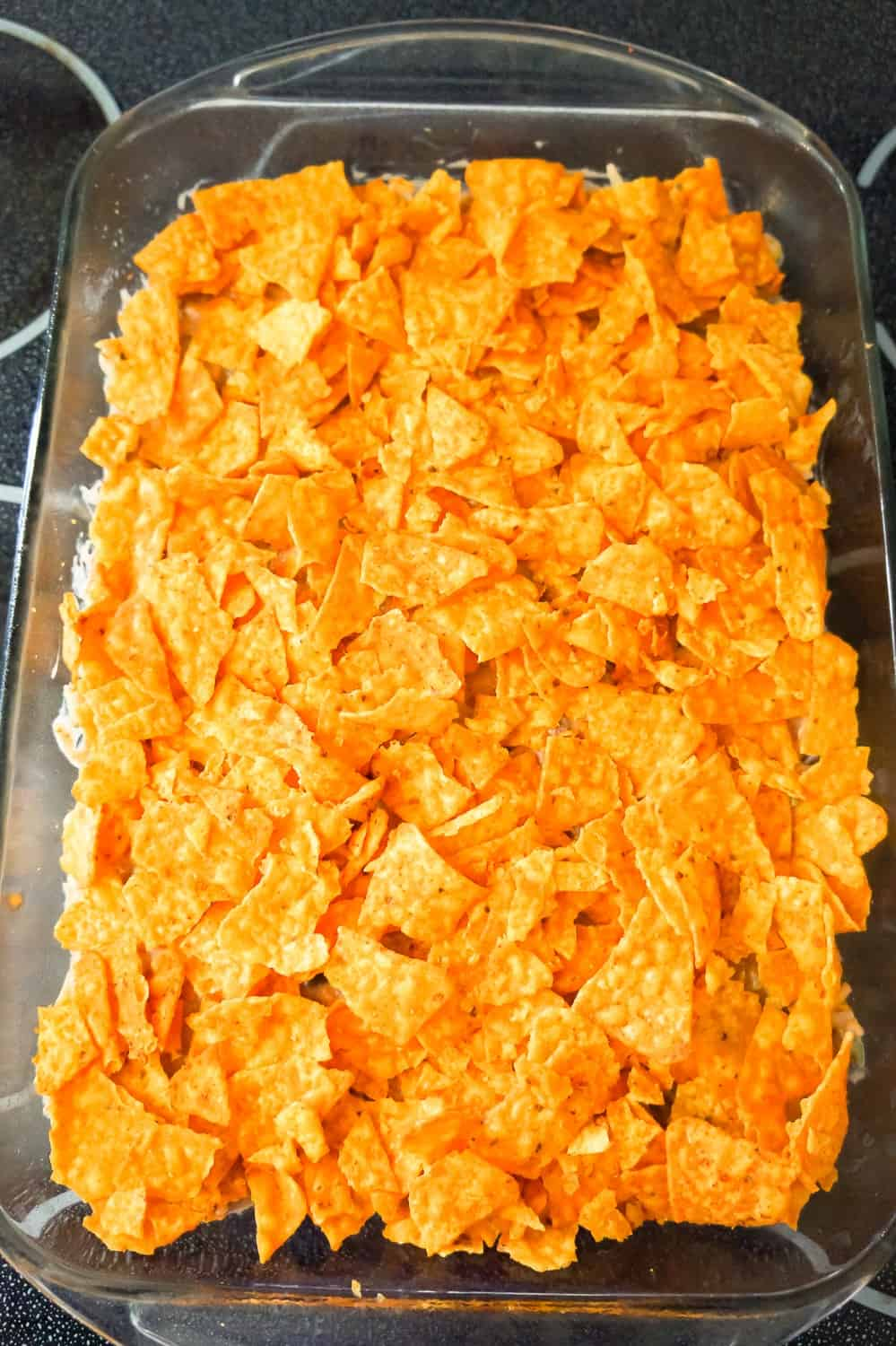 crumbled Doritos on top of ground beef casserole