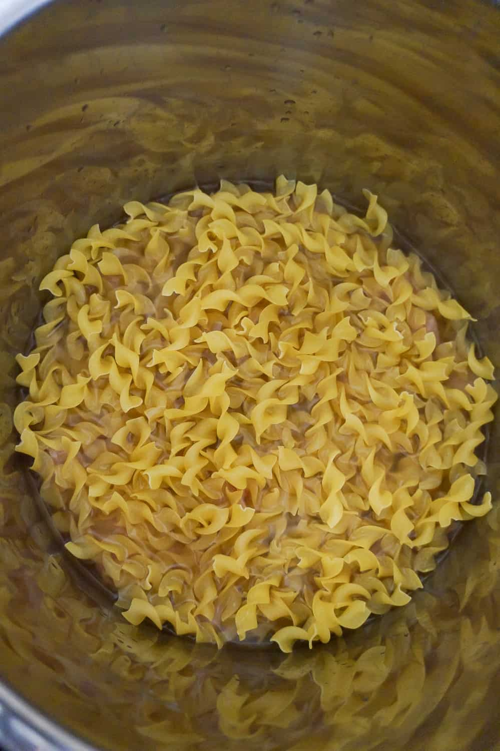 egg noodles in chicken broth in an Instant Pot