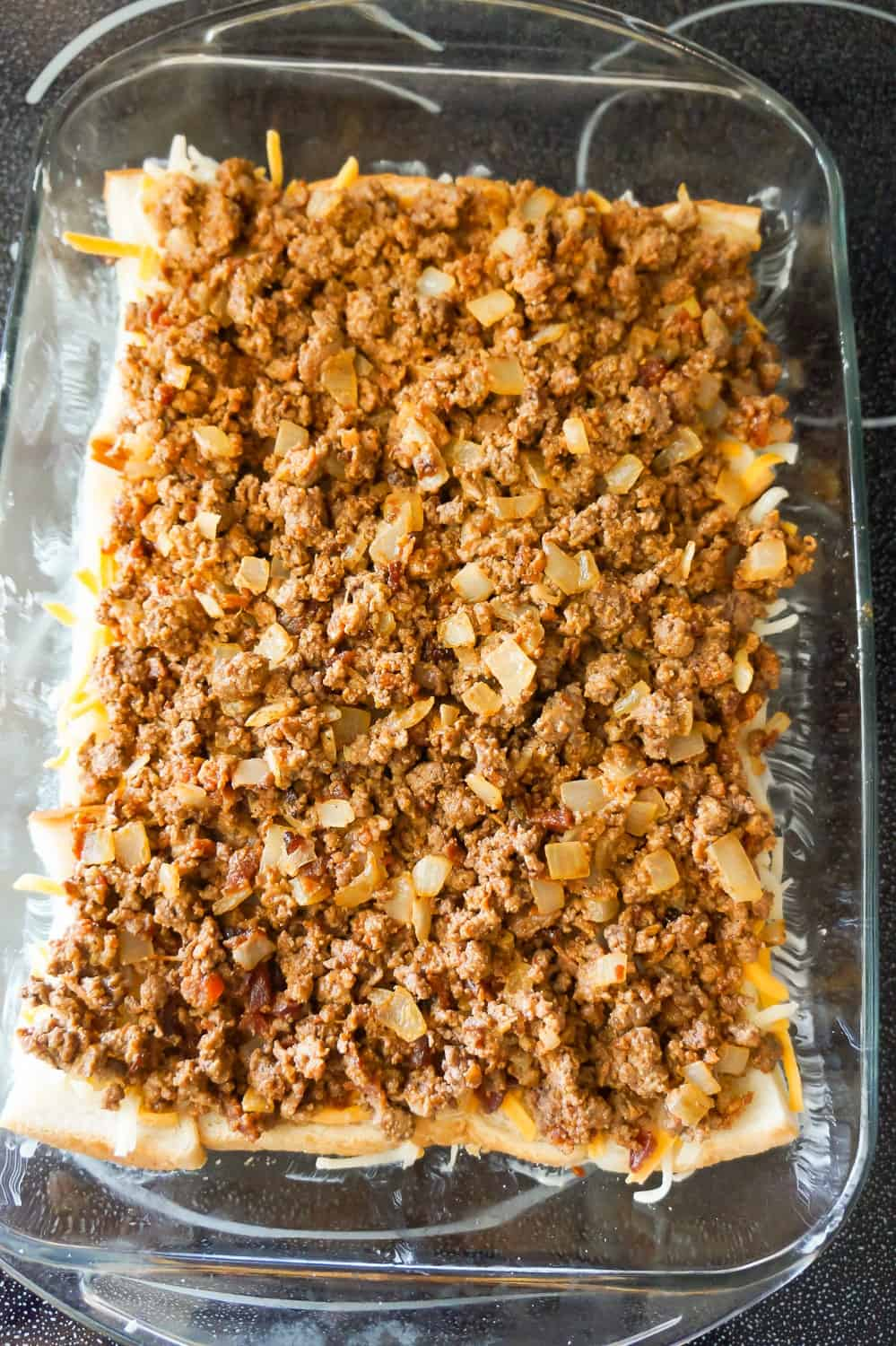 ground beef mixture in a baking dish