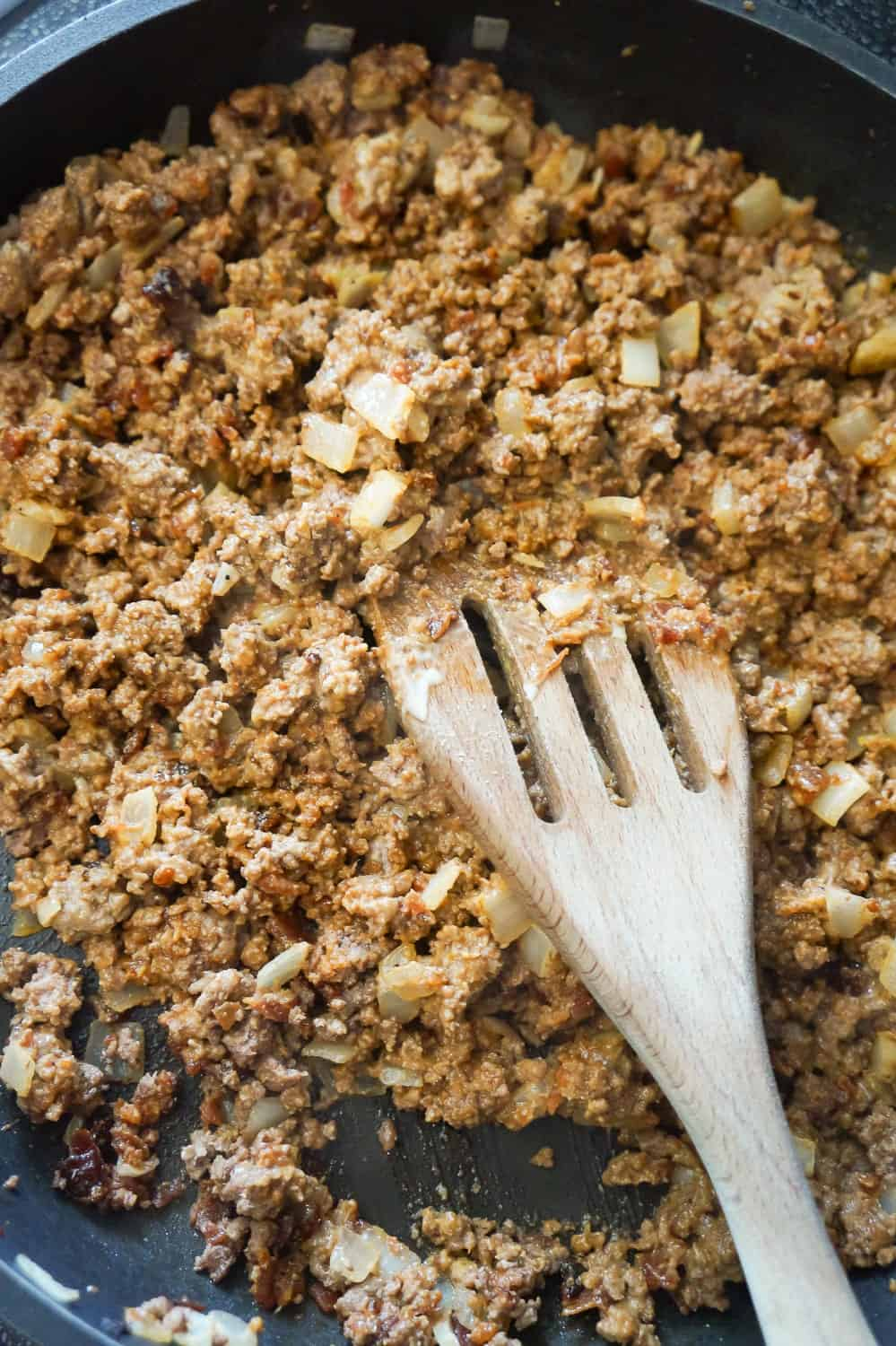 ground beef mixture in a frying pan