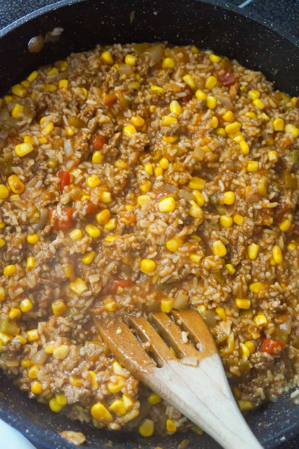 corn, ground beef and rice mixture