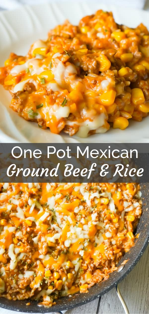 One Pot Mexican Ground Beef and Rice is a stove top dinner recipe loaded with ground beef, rice, salsa, corn and cheese. This cheesy ground beef and rice casserole is an easy dinner recipe perfect for weeknights.