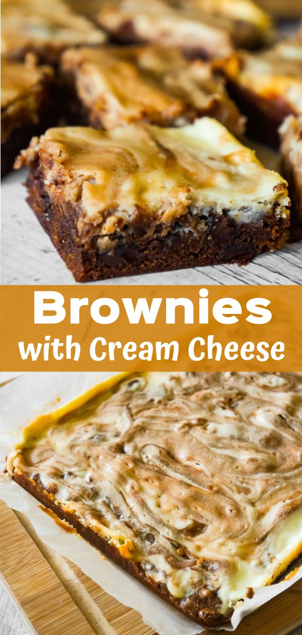 Brownies with Cream Cheese are a decadent chocolate dessert loaded with chocolate chips and a rich cheesecake swirl.