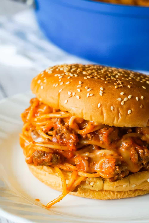 Cheesy Spaghetti Sloppy Joes are an easy ground beef dinner recipe loaded with spaghetti, marinara sauce and mozzarella cheese.