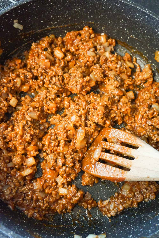 ground beef sloppy joe mixture in a saute pan