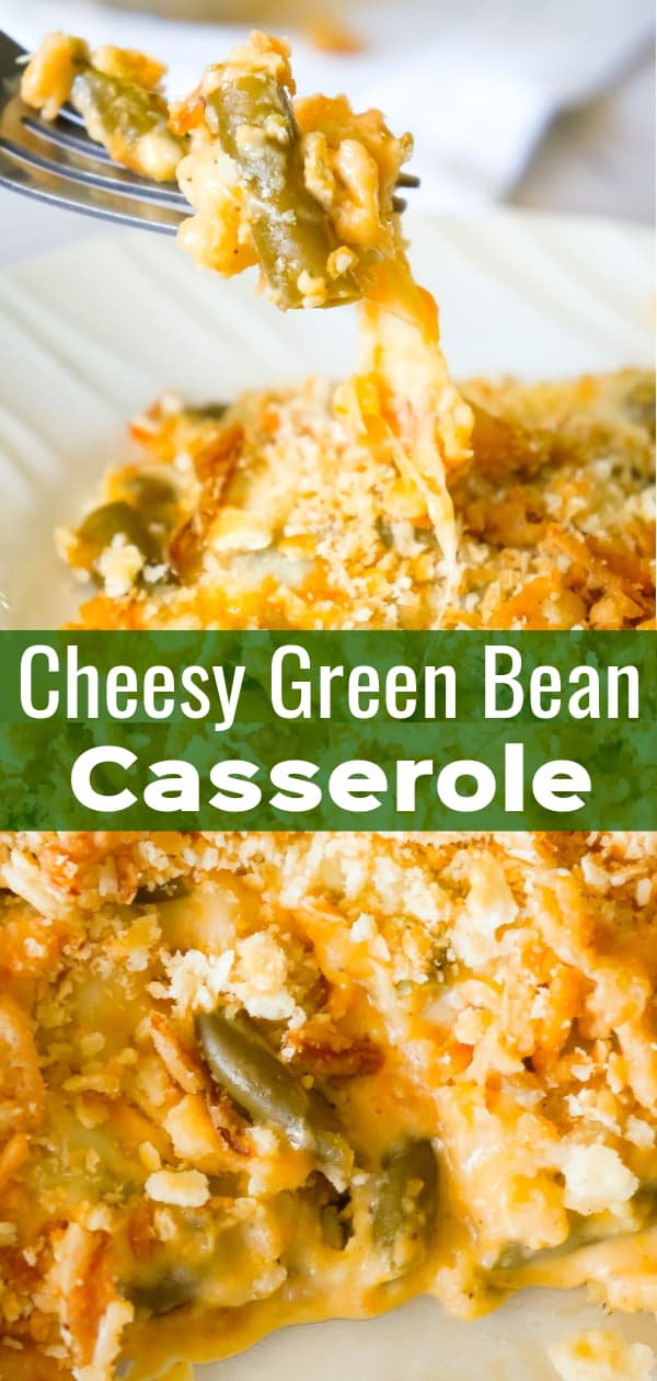 Cheesy Green Bean Casserole is an easy side dish recipe made with Campbell's cheddar cheese soup, shredded Parmesan, mozzarella, cheddar and topped with Townhouse Light and Buttery Original Crackers and French's Fried Onions.