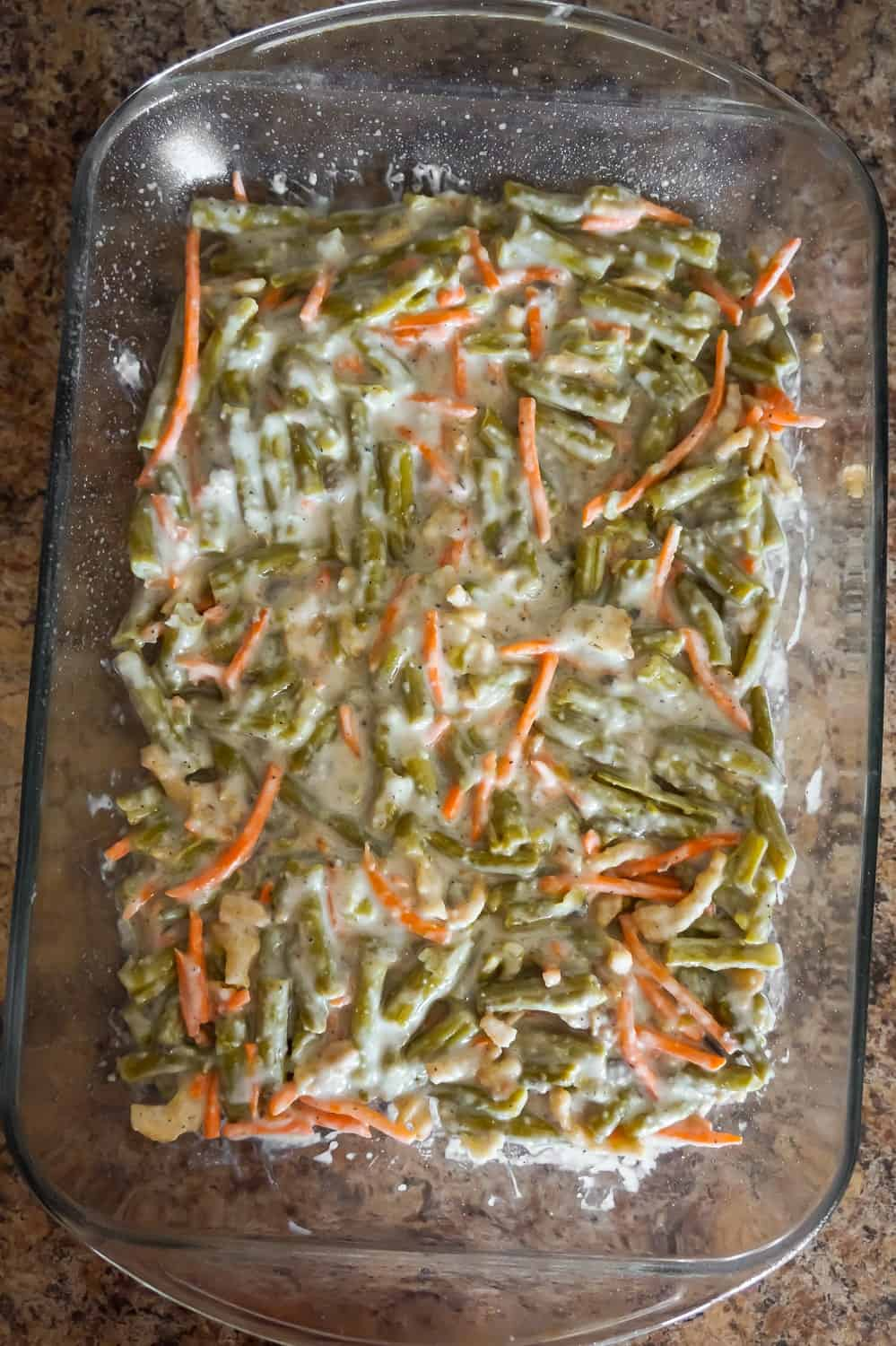 green bean casserole mixture in a baking dish