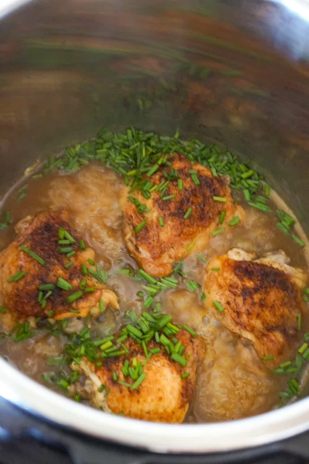 chicken thighs in gravy in an Instant Pot