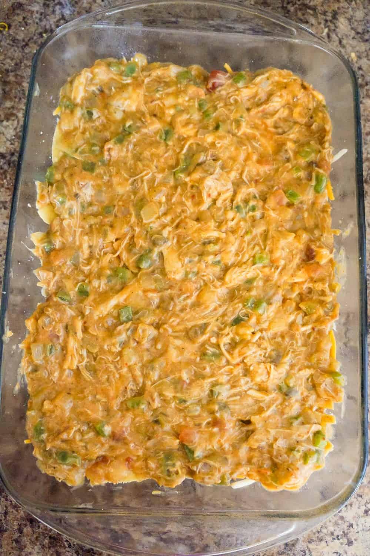 creamy chicken mixture in a baking dish