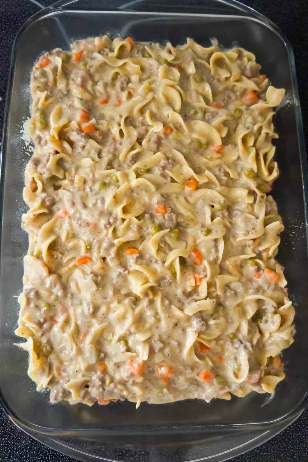 beef noodle casserole in a baking dish