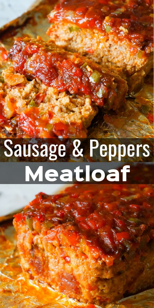 Sausage and Peppers Meatloaf is an easy meatloaf recipe using two pounds of mild Italian sausage meat and loaded with diced green peppers, red peppers and onions all in a sweet and spicy tomato sauce.