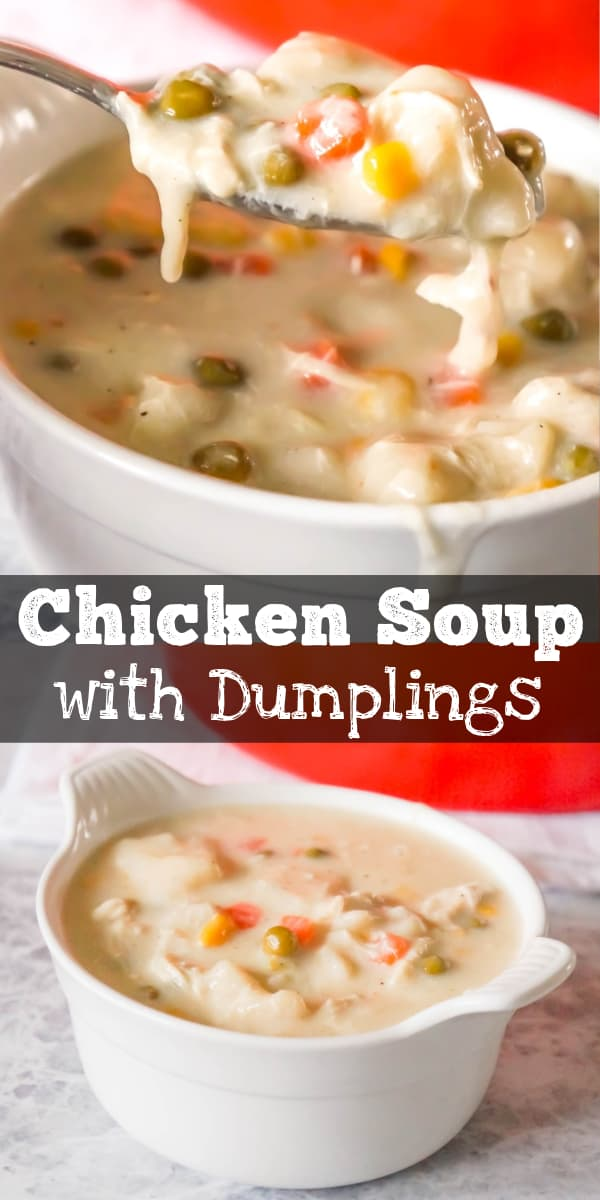 Chicken and Dumplings Soup is a hearty soup recipe using shredded rotisserie chicken, loaded with veggies and Pillsbury biscuit dumplings.