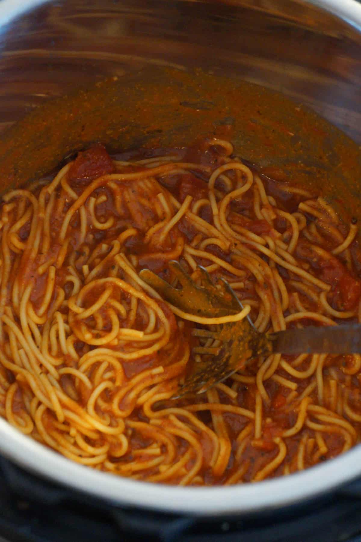 cooked spaghetti in an Instant Pot