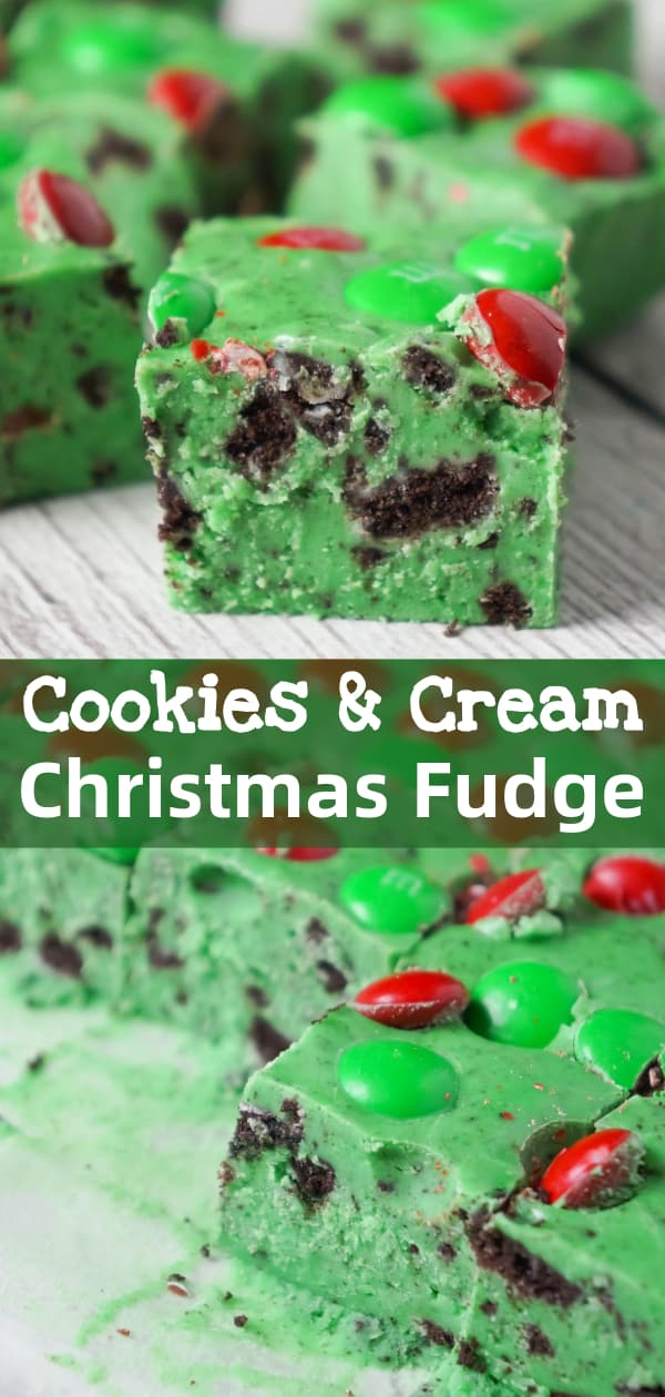 Cookies and Cream Christmas Fudge is an easy microwave fudge recipe made with vanilla frosting, white chocolate chips, green food colouring, crumbled Oreos and topped with red and green M&M's.