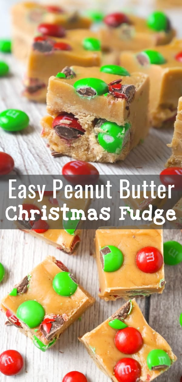 Peanut Butter Christmas Fudge is an easy microwave fudge recipe loaded with festive red and green M&M's.