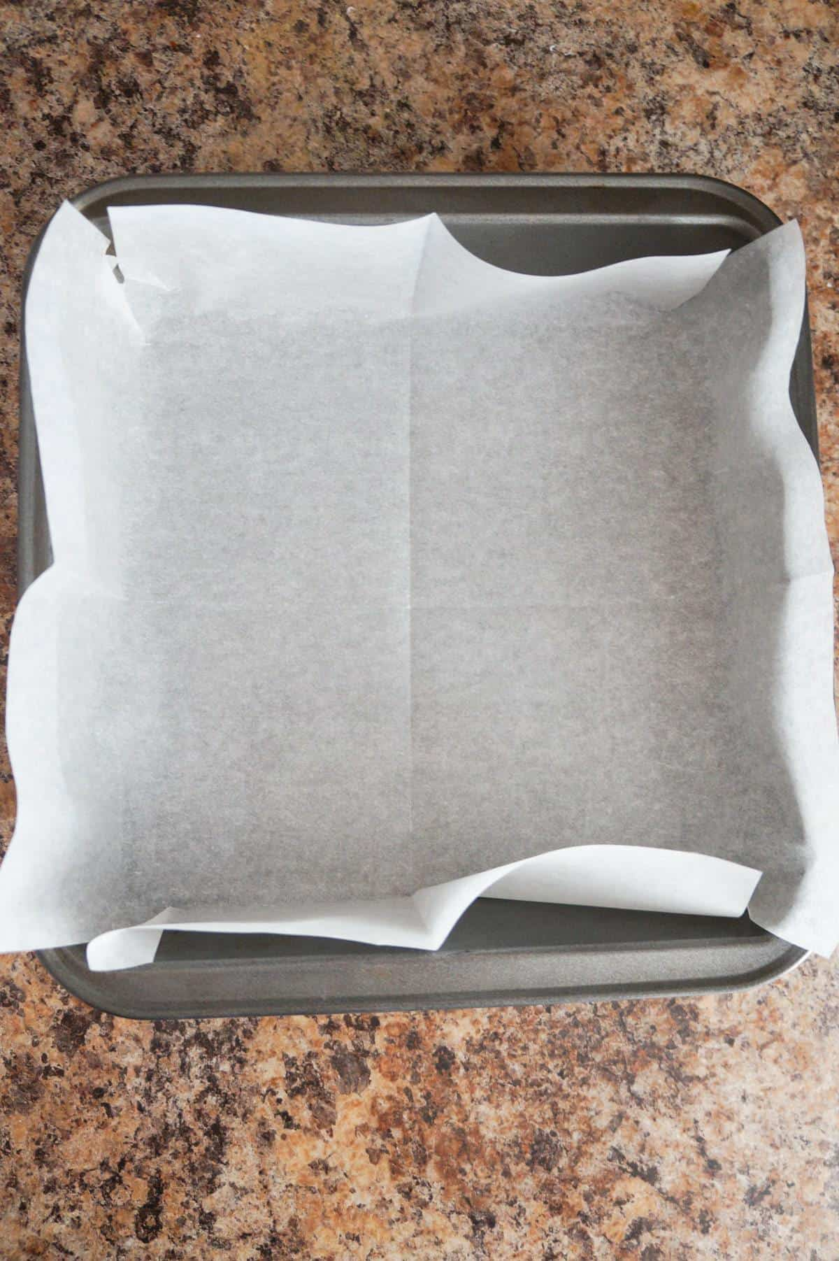parchment paper lined baking pan