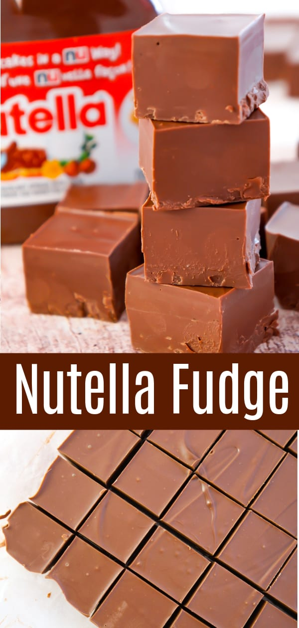 Nutella Fudge is an easy two ingredient microwave fudge recipe using Nutella and milk chocolate chips.