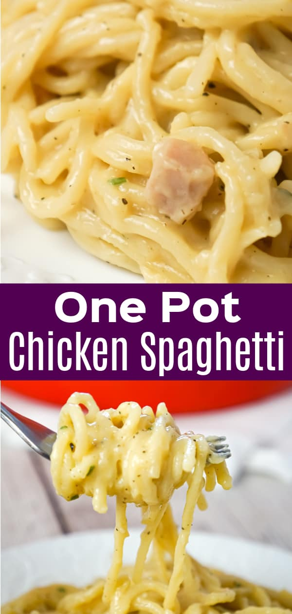 One Pot Chicken Spaghetti is an easy dinner recipe using just spaghetti noodles, condensed cream of chicken soup and spices.