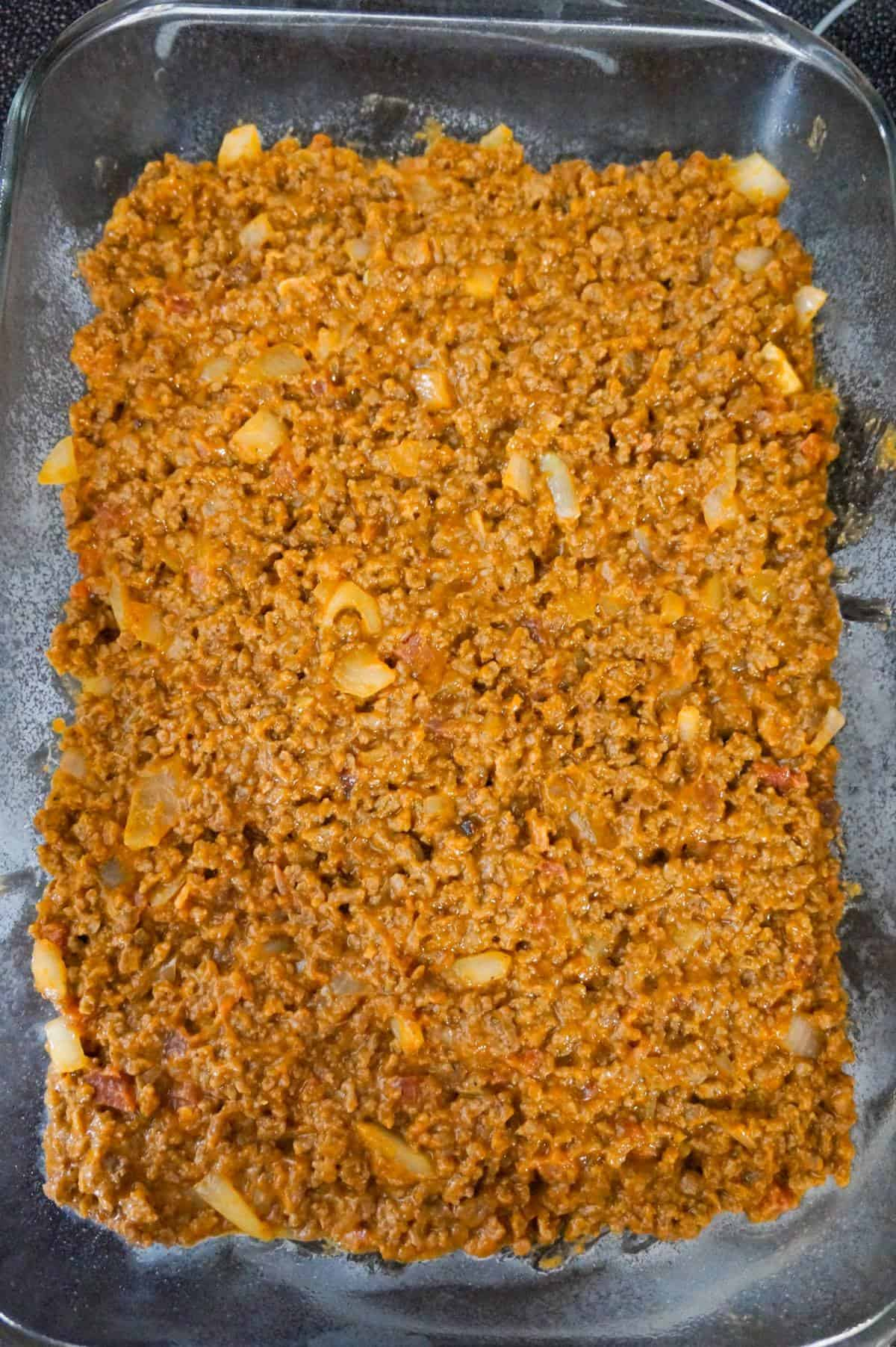 ground beef mixture in a 9 x 13 inch baking dish