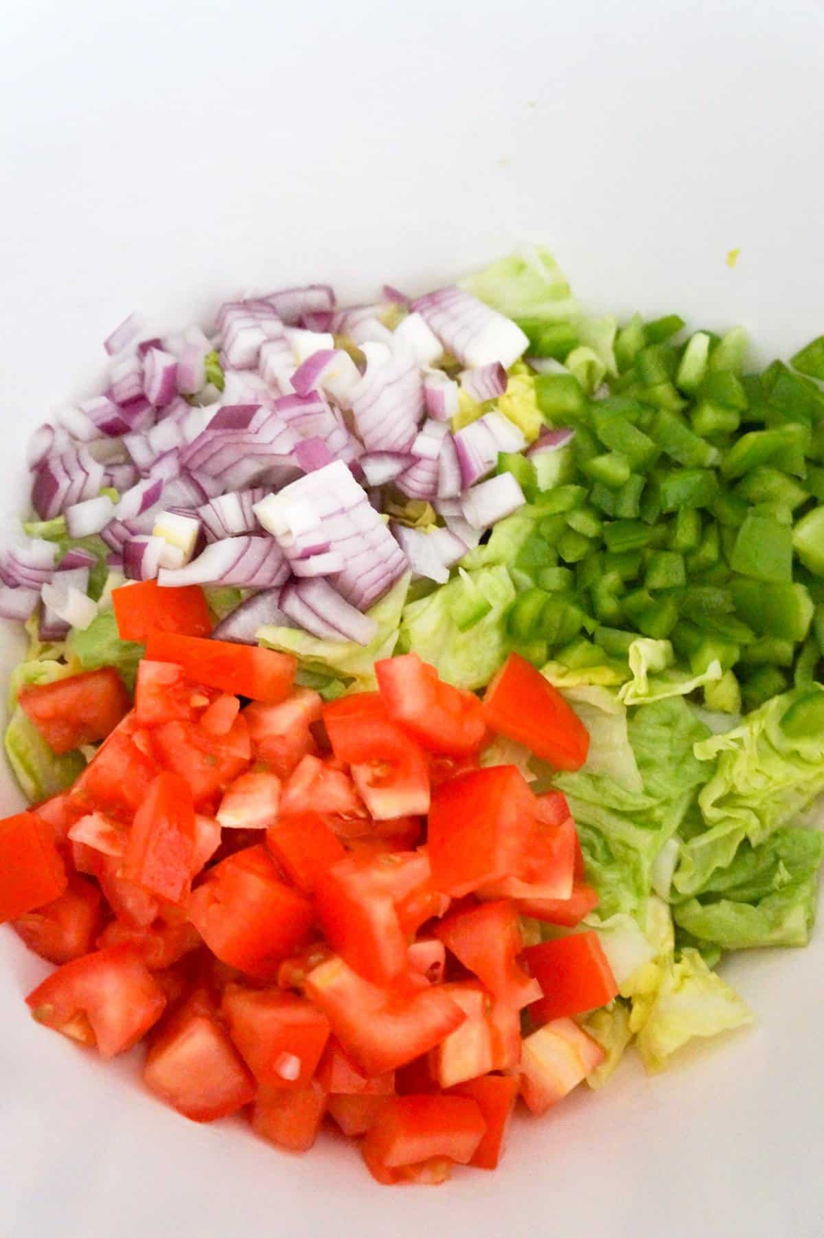 diced red onions, diced green peppers and diced tomatoes on top of lettuc