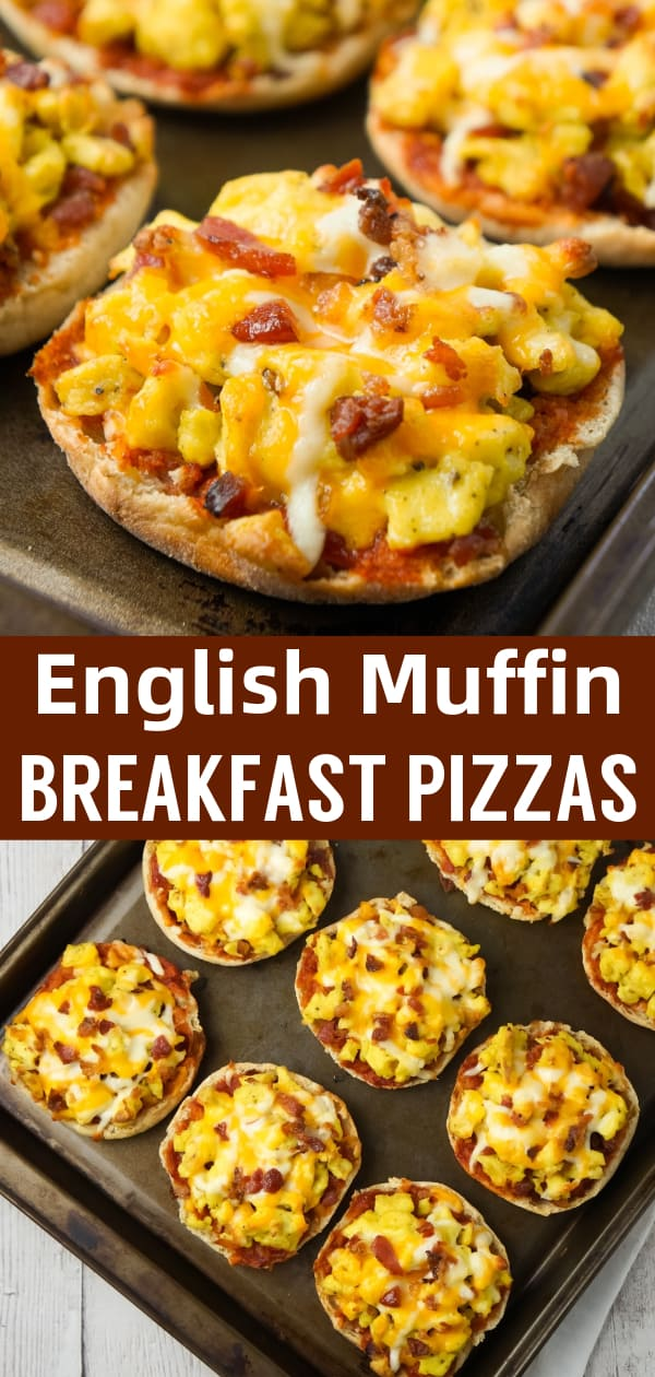 English Muffin Breakfast Pizzas are an easy breakfast or brunch recipe using English muffins and topped with Heinz chili sauce, scrambled eggs, crumbled bacon and shredded cheese.