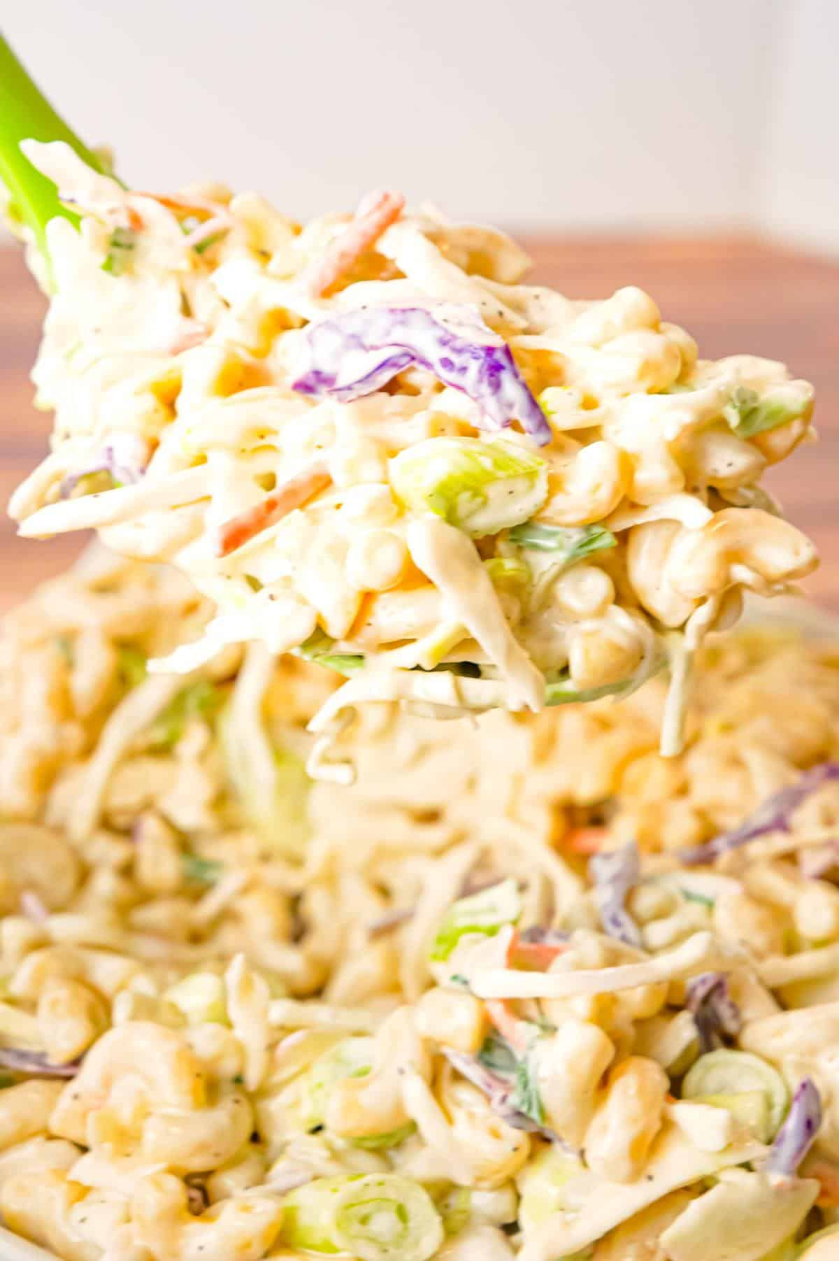Coleslaw Macaroni Salad is a simple cold side dish recipe perfect for summer barbecues and potlucks.