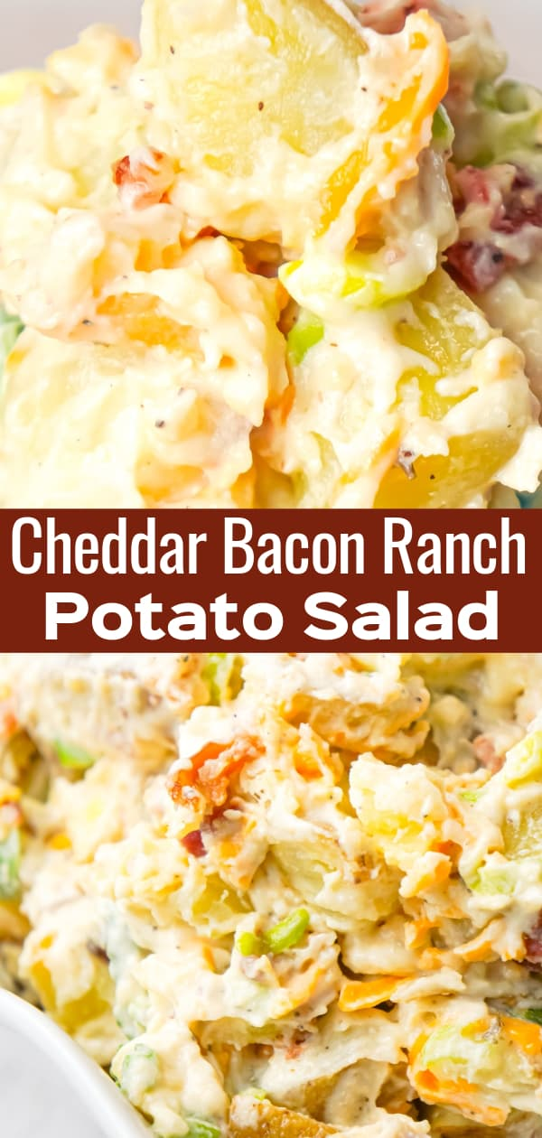 Cheddar Bacon Ranch Potato Salad is a creamy cold side dish recipe made with Yukon gold potatoes and loaded with crumbled bacon, cheddar cheese, chopped green onions, mayo and ranch dressing.