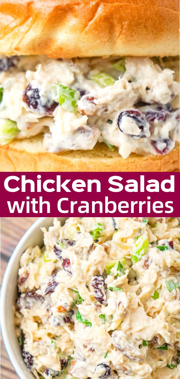 Chicken Salad with Cranberries is an easy cold lunch or dinner recipe using canned chicken and loaded with dried cranberries, chopped green onions, pecan pieces and shredded mozzarella cheese.
