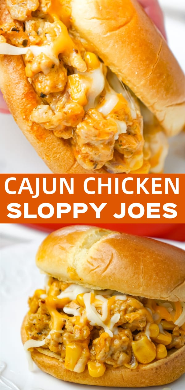 Cajun Chicken Sloppy Joes are an easy dinner recipe using ground chicken and loaded with corn, red onions, cream of chicken soup, Cajun seasoning and shredded cheese.