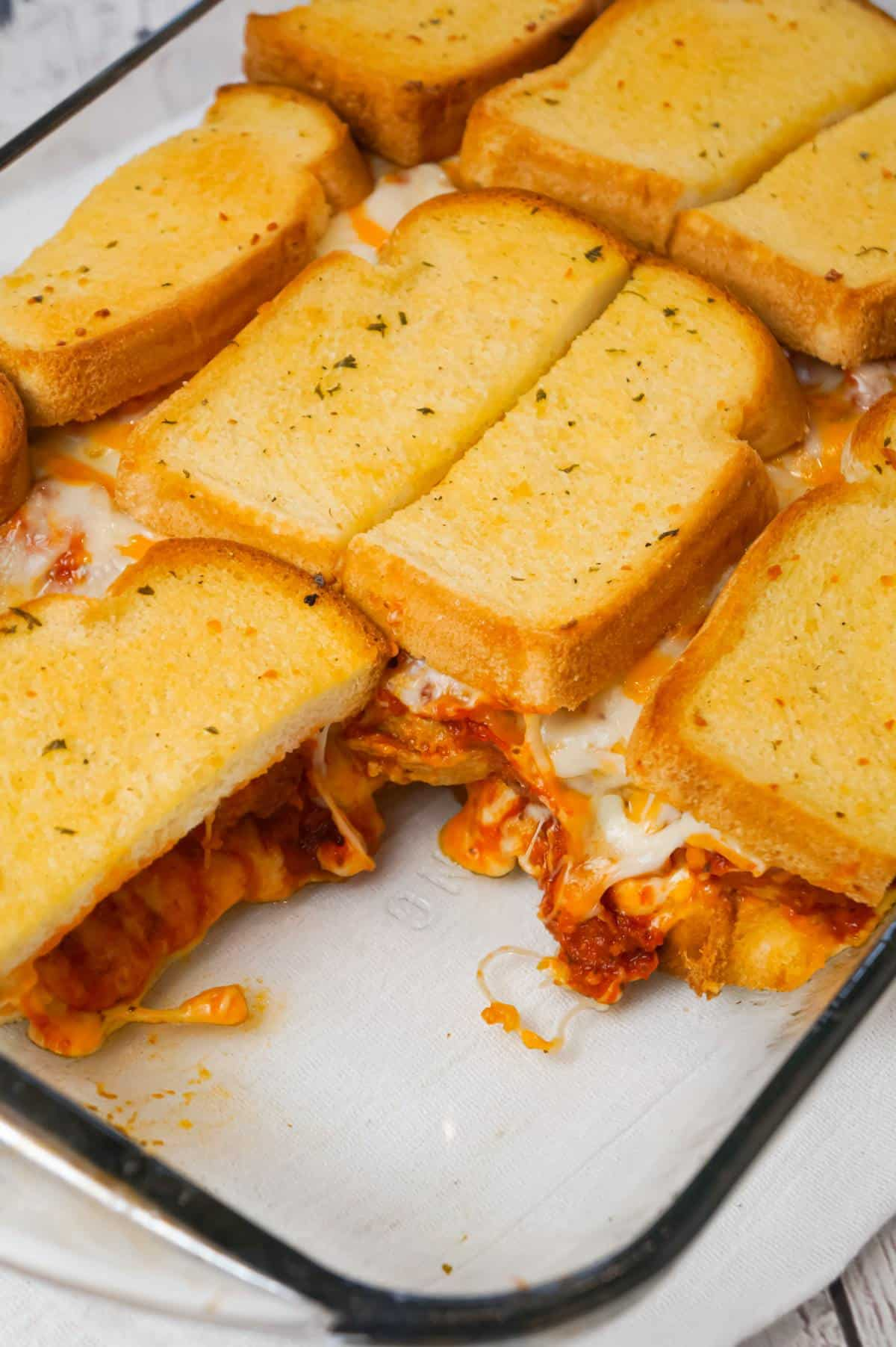 Meatball Sub Grilled Cheese Casserole is an easy casserole recipe made with Italian style meatballs, marinara sauce and loaded with cheese all sandwiched between layers of garlic toast.
