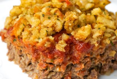 Meatloaf and Stuffing Casserole is an easy ground beef dinner recipe with a meatloaf base topped with stove top stuffing.