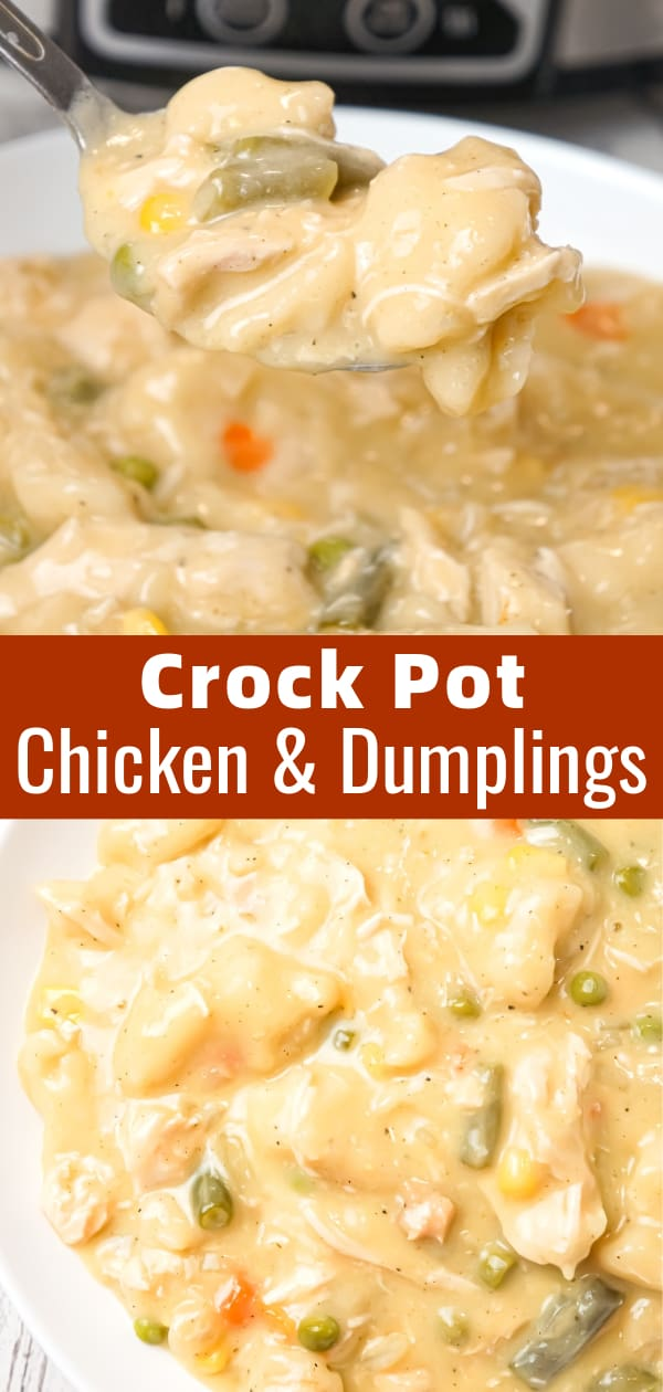 Crock Pot Chicken and Dumplings is an easy slow cooker dinner recipe loaded with chicken breast, veggies and Pillsbury biscuit dough dumplings all in a creamy sauce.