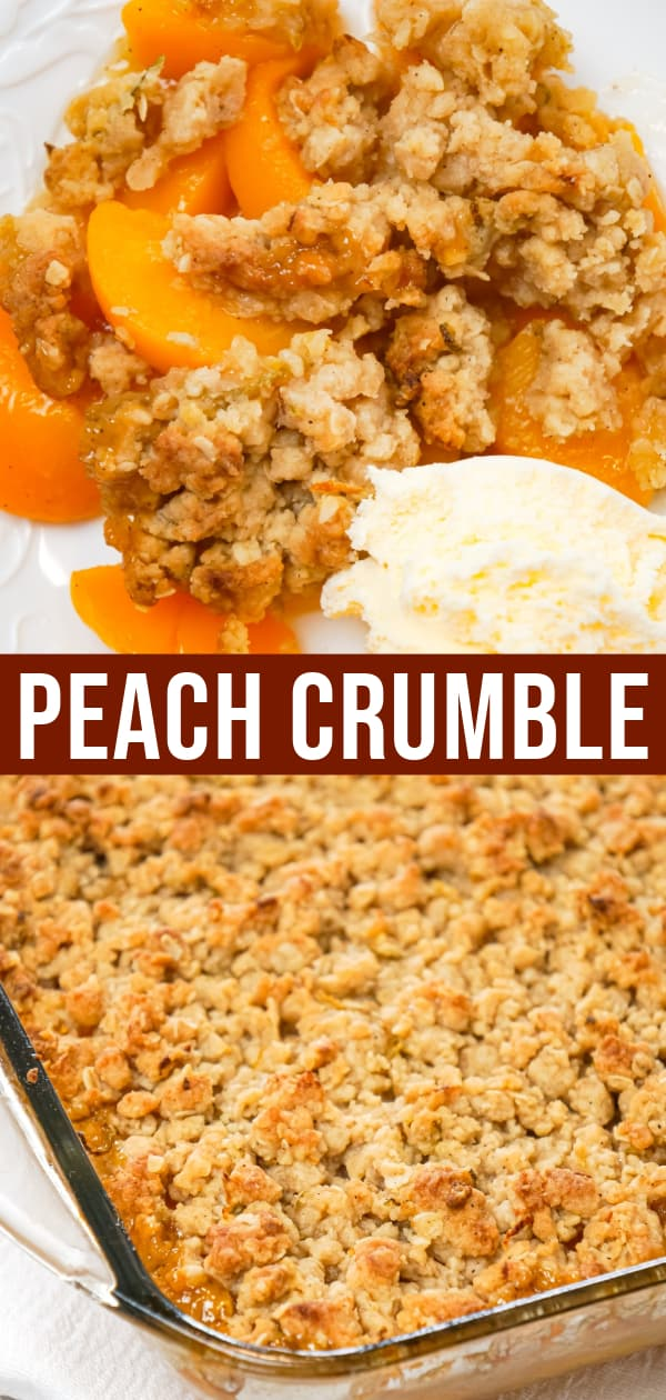 Peach Crumble is a delicious dessert recipe made with canned peaches and topped with a crunchy crumble topping with hints of cinnamon and citrus.
