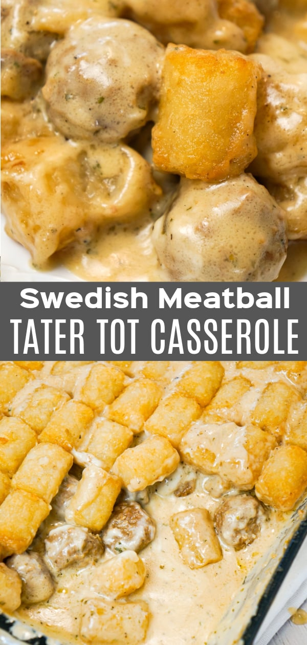 Swedish Meatball Tater Tot Casserole is an easy casserole recipe made with frozen Swedish meatballs smothered in a creamy gravy and topped with mozzarella cheese and tater tots.