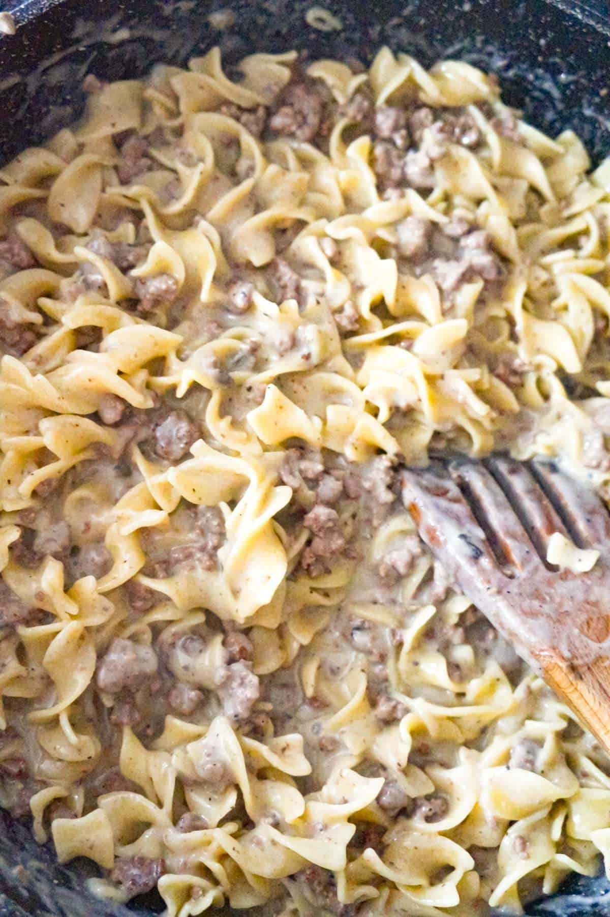 ground beef and egg noodles coated in cream of mushroom soup
