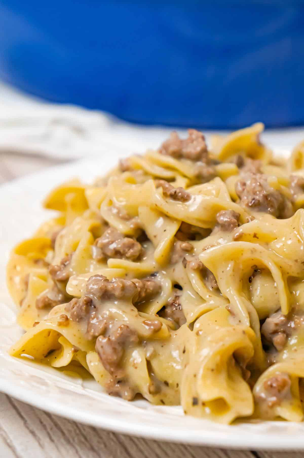 Homemade Hamburger Helper is an easy weeknight dinner recipe made with ground beef, egg noodles and condensed cream of mushroom soup.