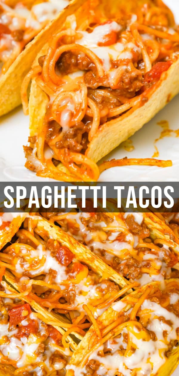 Spaghetti Tacos are an easy dinner recipe made with stand and stuff taco shells loaded with spaghetti and ground beef tossed in in tomato sauce with taco seasoning and baked with cheese.