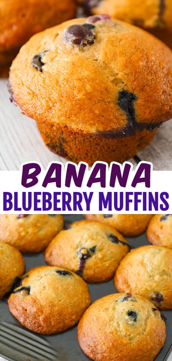 Banana Blueberry Muffins are moist and delicious homemade banana muffins loaded with fresh blueberries.